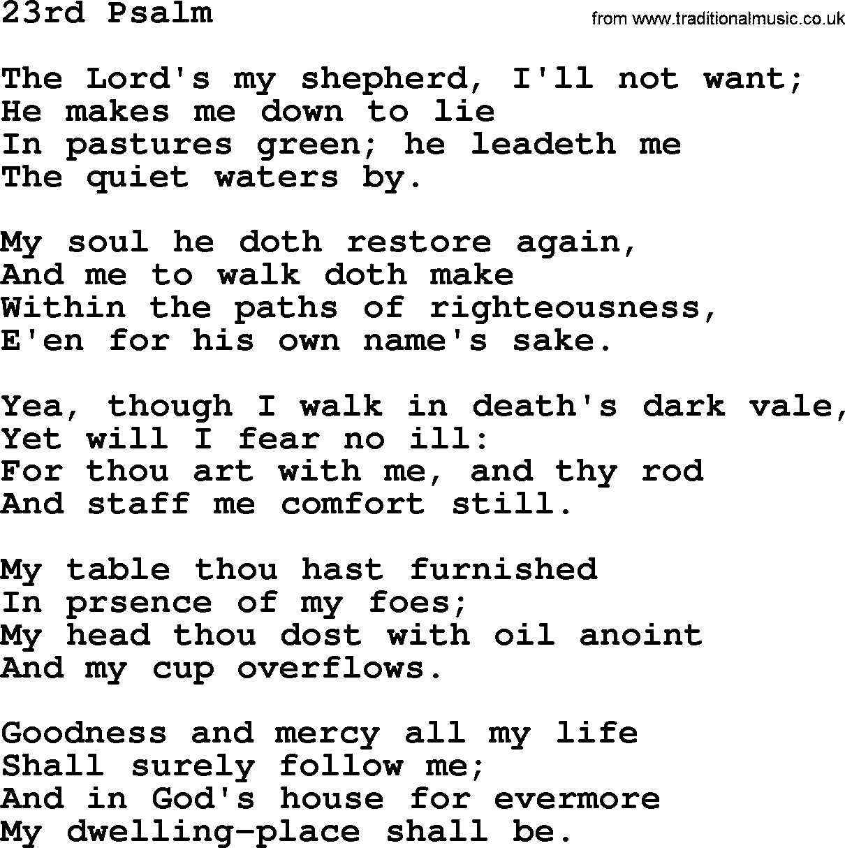 23rd Psalm PNG - 79941