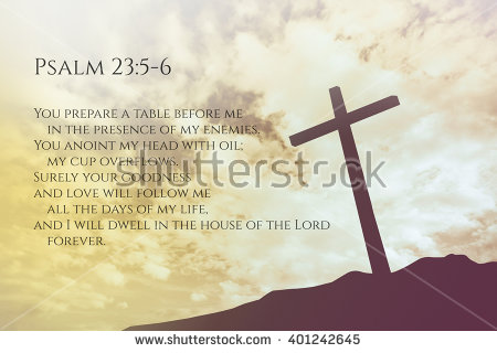 Psalm 23:5-6 Vintage Bible Verse Background on one cross on a hill - 23rd Psalm PNG