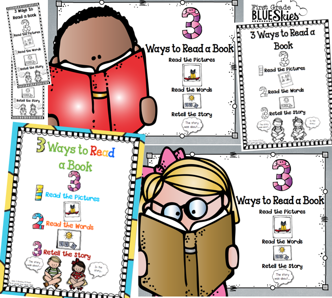 I created these bookmarks (and posters) for the beginning of the year to  remind kids how they can choose to read a book. Click {here} to get your  copy! - 3 Ways To Read A Book PNG