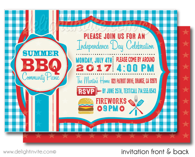July 4th BBQ Party Invitations - 4th Of July Bbq PNG