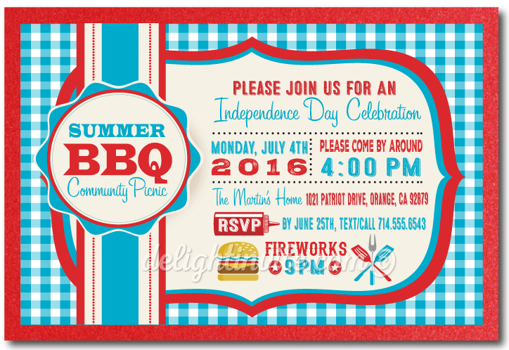 Picnic BBQ July 4th Party Fourth of July Invitations - 4th Of July Bbq PNG