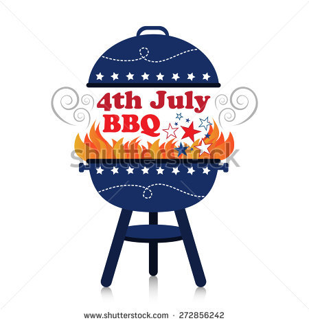 Smoky fiery BBQ grill with 4th July American Independence Day design. - 4th Of July Bbq PNG