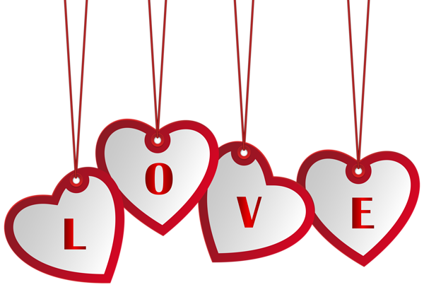 Hanging Love Hearts PNG Image
