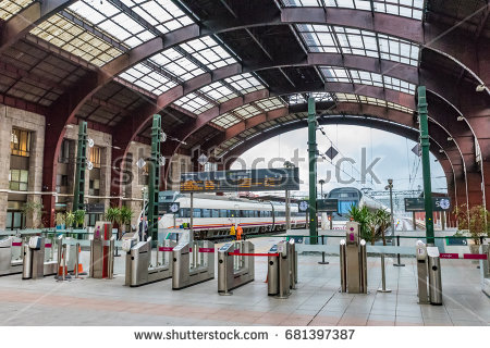 A CORUNA, SPAIN - JUNE 15, 2016: Interior of the Railway Station of - A Coruna Vector PNG