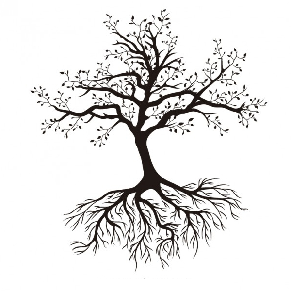Silhouette Tree with Roots - A Dying Tree PNG