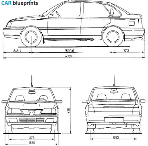 1997 FSO Polonez ATU Plus Sedan blueprint - A T U Vector PNG