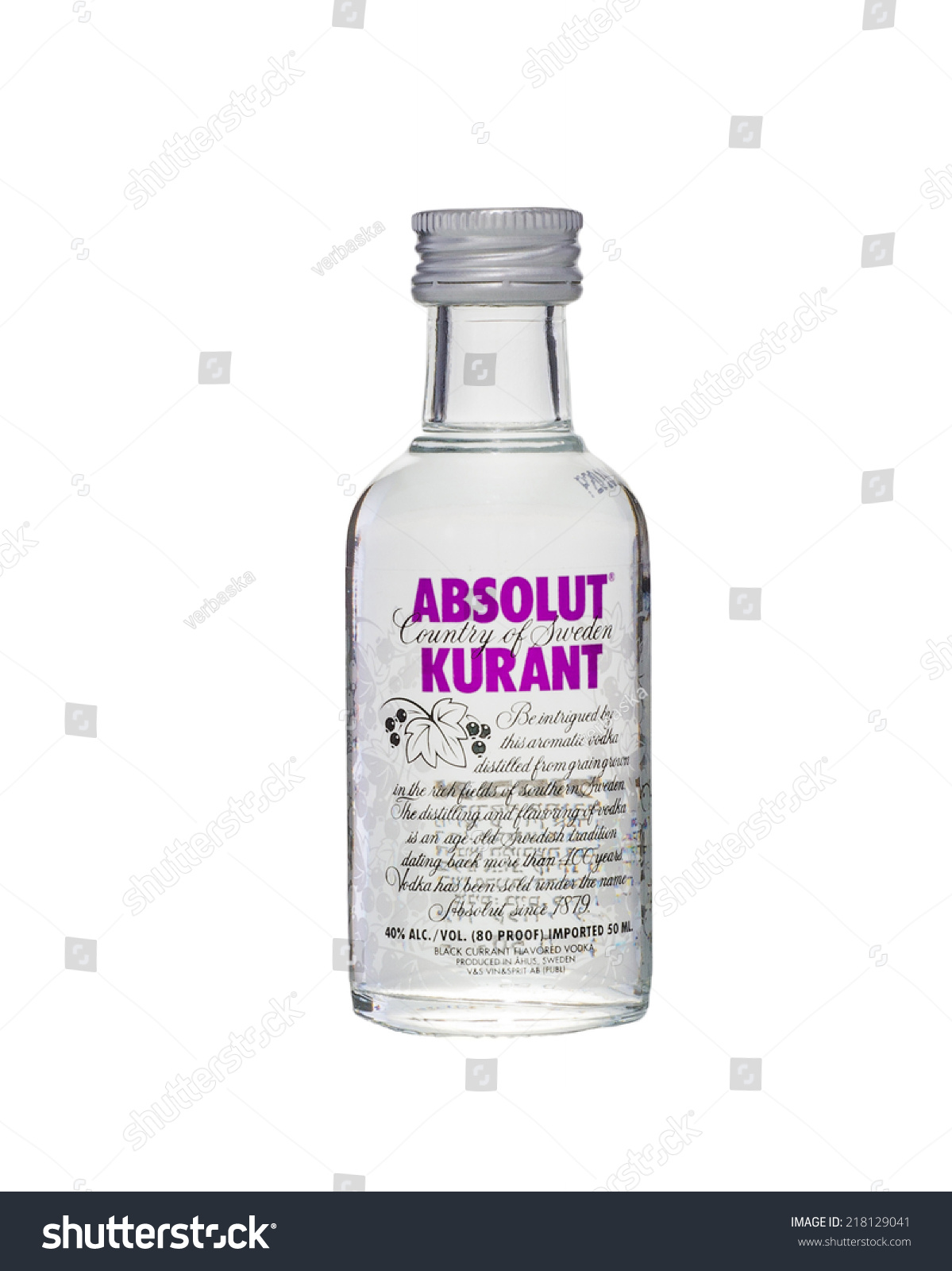 Rishon Le Zion, Israel - September 18, 2012: One miniature bottle of Absolut - Absolut Kurant Vector PNG