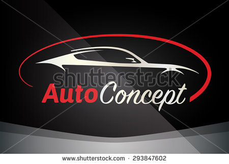 Auto Company Logo Vector Design Concept with Sports Car Silhouette - Red - Accent Auto Logo Vector PNG