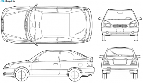2005 Hyundai Accent 3-door Hatchback blueprint - Accent Auto Vector PNG