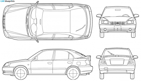 2005 Hyundai Accent 5-door Hatchback blueprint - Accent Auto Vector PNG