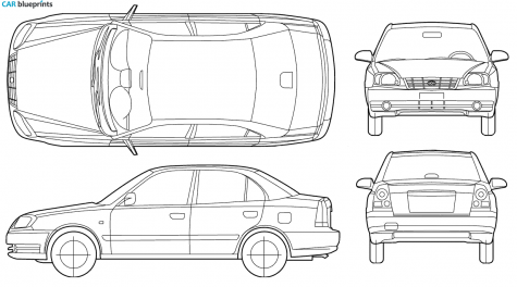 2005 Hyundai Accent Sedan blueprint - Accent Auto Vector PNG