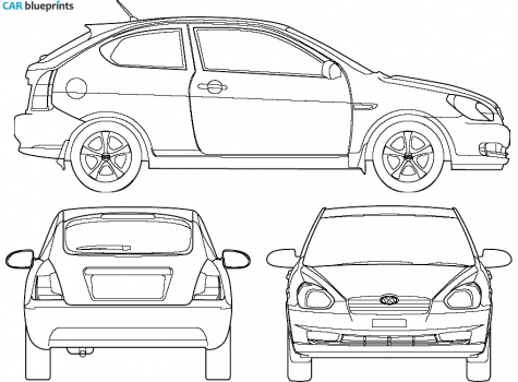 2007 Hyundai Accent Hatchback blueprint - Accent Auto Vector PNG