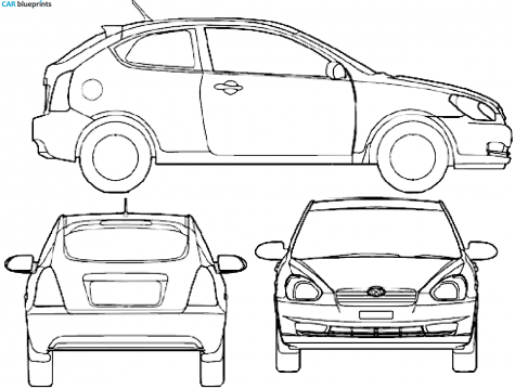 2008 Hyundai Accent III MC Hatchback blueprint - Accent Auto Vector PNG
