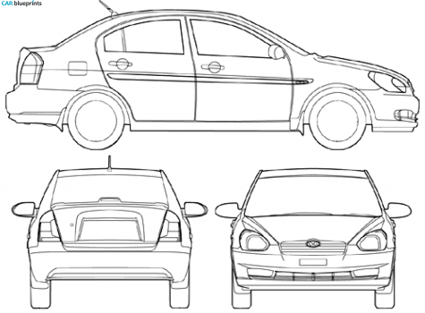 2008 Hyundai Accent Sedan blueprint - Accent Auto Vector PNG