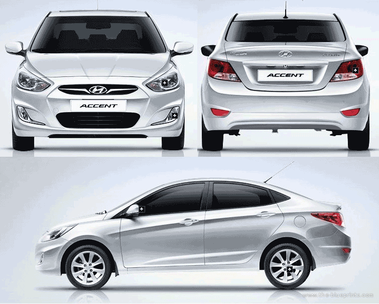 Hyundai Accent Blue | Diesel | 2014 | Düz Vites - Accent Auto Vector PNG