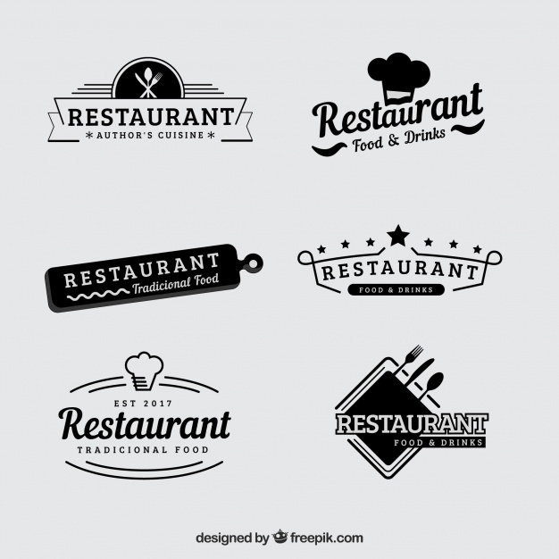 Vintage set of retro restaurant logos - Accept Logo Vector PNG