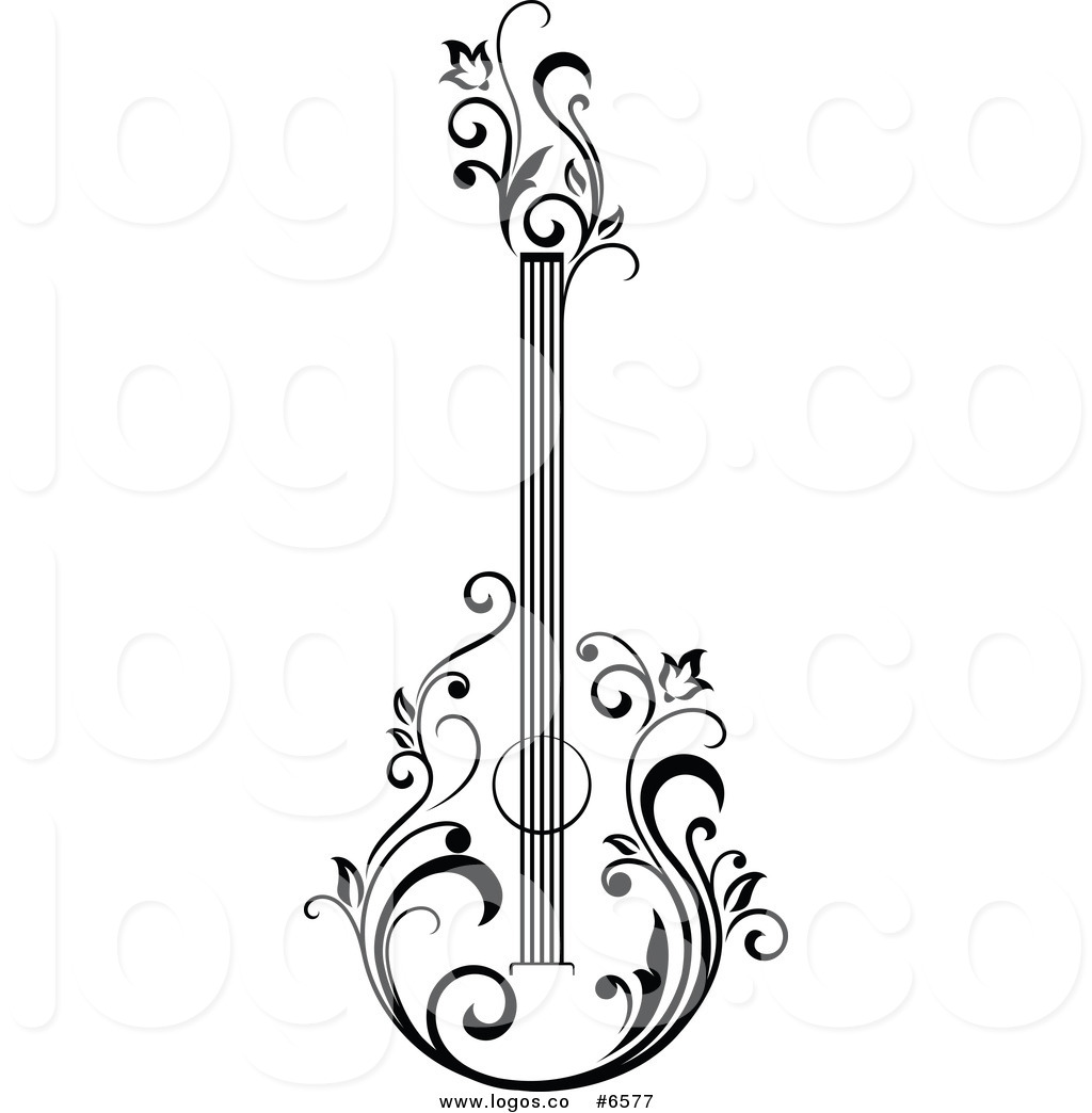 Acoustic Guitar PNG Black And White - 171063