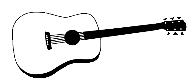 Acoustic Guitar PNG Black And White - 171064