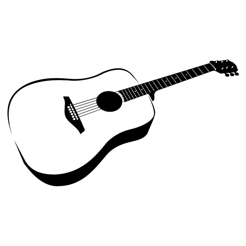 Acoustic Guitar PNG Black And White - 171056