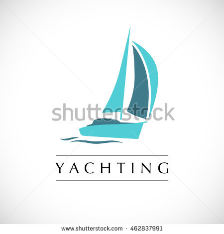 Vector Flat Yacht Club, Regatta Logo Design. Sailing Boat, Ship Icon,  Silhouette - Acqua Boat Logo Vector PNG