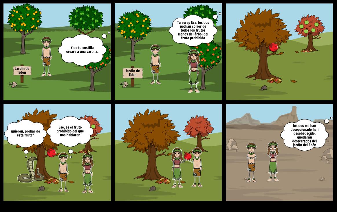 Vistoso Adán Y Eva En El Jardín De Edén Para Colorear Friso ...
