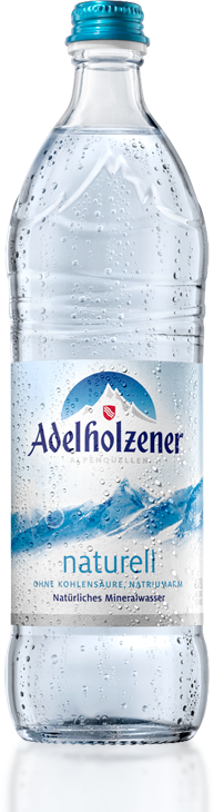Its witchout gas and during summer that was the way better choice, because  carbonated water tastes like shit when its warm and the one without gas is  okay PlusPng.com  - Adelholzener PNG