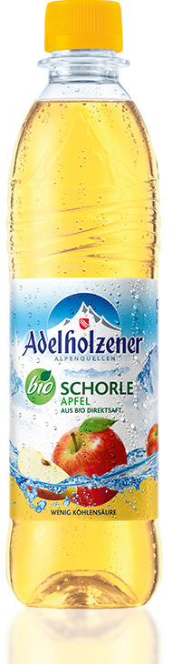 Adelholzener Bio Schorle Apfel (Organic Spritzer u2013 Apple) 0,5L  PET-Mehrweg - Adelholzener Vector PNG