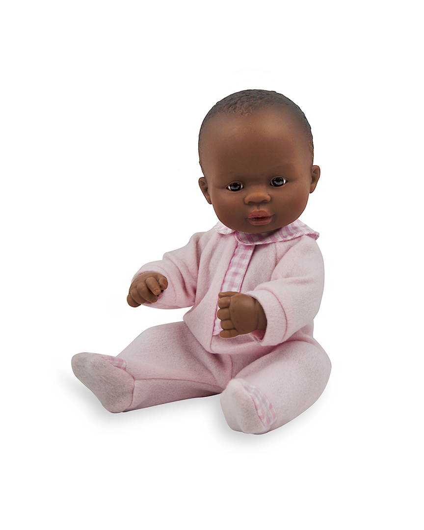 Newborn African girl doll in sleeper - African American Baby PNG HD