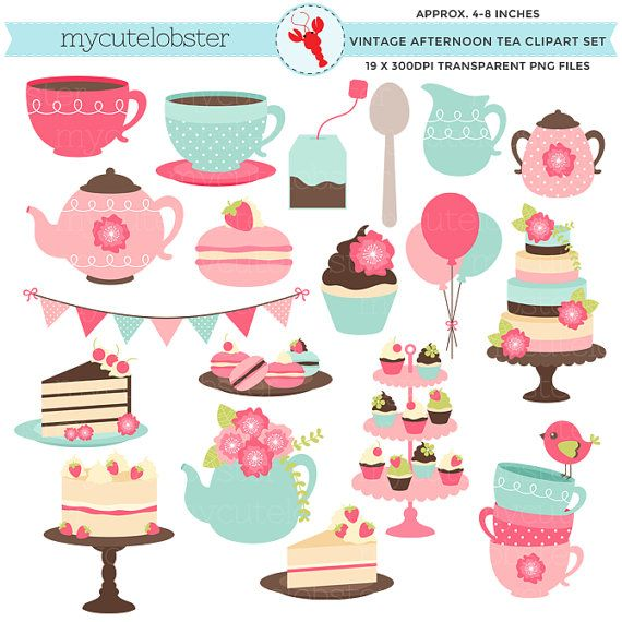Afternoon Tea Clipart Set - clip art set, vintage tea party, cakes, teapot,  macarons - personal use, small commercial use, instant download - Afternoon Tea Party PNG