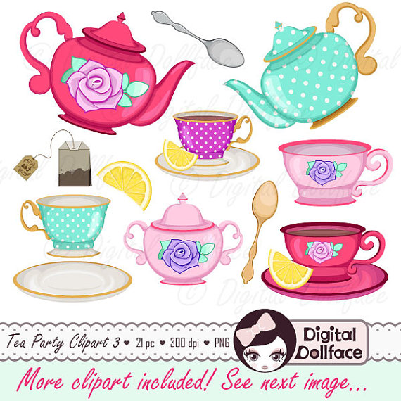 Tea Cup Clip Art, Tea Party Bridal Shower Clipart, High Tea, Teapot, Tea Set - Afternoon Tea Party PNG
