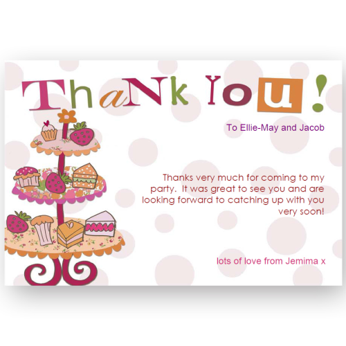 thank you card editable afternoon tea party - Afternoon Tea Party PNG