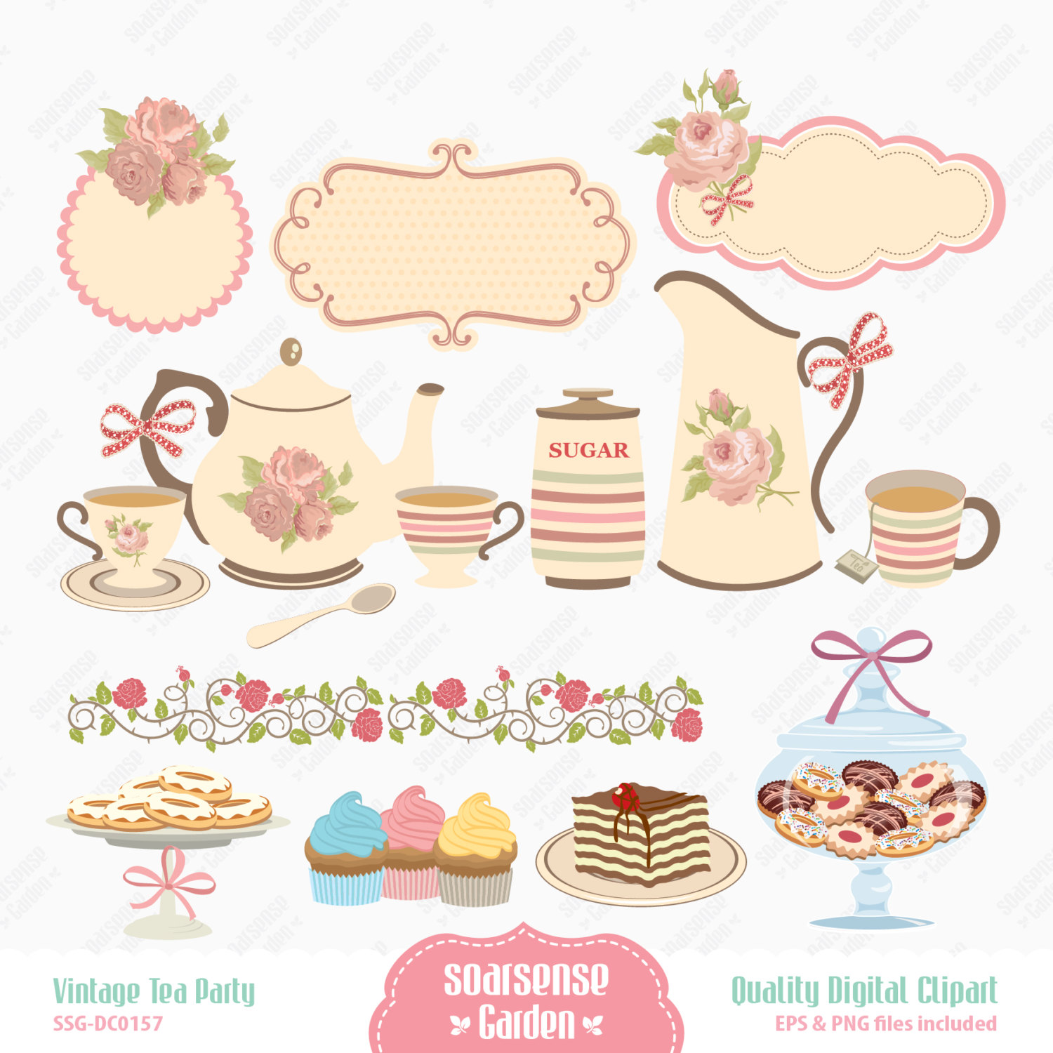 vintage afternoon tea clipart 14 - Afternoon Tea Party PNG