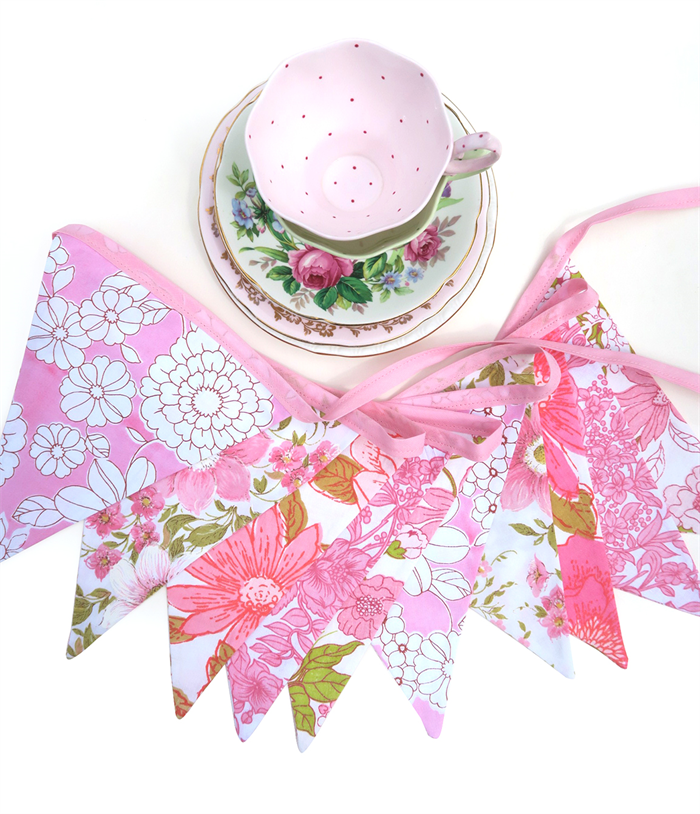 Vintage Bunting - Retro Pink MULTI Floral Flags. High Tea Party, Home  Decoration - Afternoon Tea Party PNG