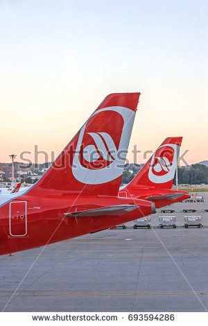 Zurich, Switzerland - June 11, 2017: Airport Zurich - airplane tail fin of - Air Berlin Vector PNG
