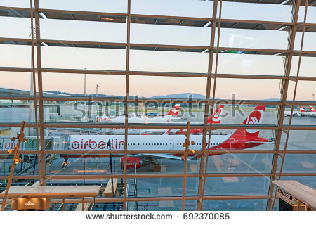 Zurich, Switzerland - June 11, 2017: Airport Zurich - view through window of - Air Berlin Vector PNG