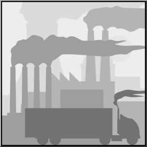 Clip Art: Environmental Concerns: Air Pollution Grayscale I abcteach pluspng.com -  preview 1 - Air Pollution PNG Black And White