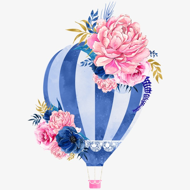 Hot air balloon flowers, Small Fresh, Literature And Art, Watercolor PNG  Image - Air Rose Vector PNG