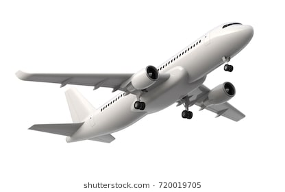 High detailed white airliner, 3d render on a white background. Airplane  Take Off, - Airplane Taking Off PNG