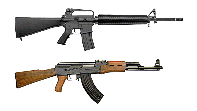 File:M16 and AK-47 comparison.png - Ak47 HD PNG