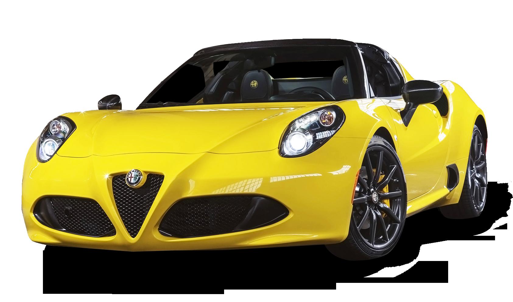 Alfa Romeo 4C Spider Yellow Car PNG Image - Alfa Romeo HD PNG