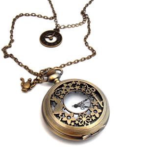 March Hare Clock Necklace, Antique Bronze, Steampunk Pocket Watch Locket,  Alice In Wonderland - Alice In Wonderland Pocket Watch PNG