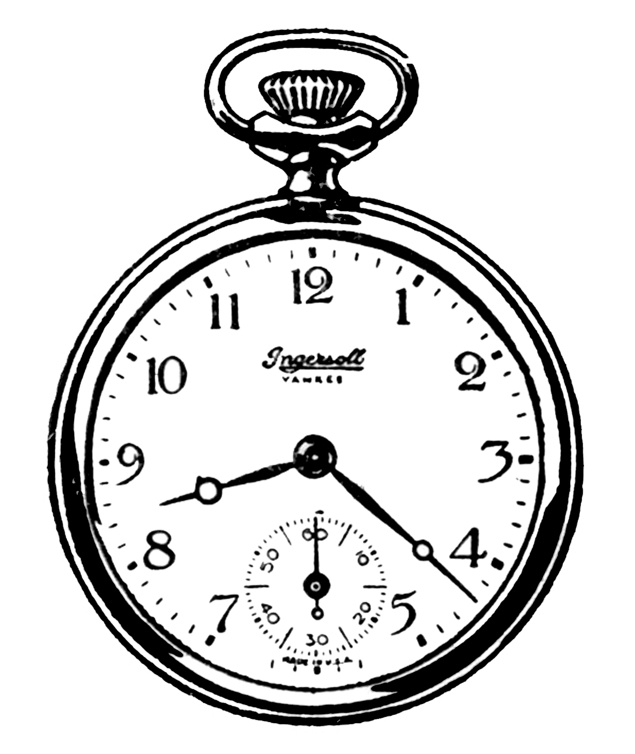 Vintage Clip Art - Black and White Pocket Watches - Alice In Wonderland Pocket Watch PNG