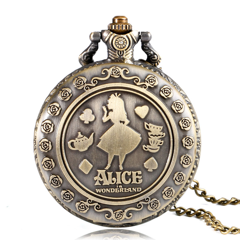 Vintage Cute Alice in Wonderland Rabbit Flower Pocket Watch Necklace Quartz  Women Ladies Bronze Pendant Retro - Alice In Wonderland Pocket Watch PNG