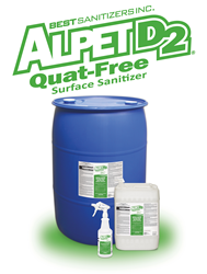 Best Sanitizers, Inc. Introduces New Alpet D2 Quat-Free Surface Cleaner and  Sanitizer to Food Processors and Food Handling Professionals - Alpet PNG