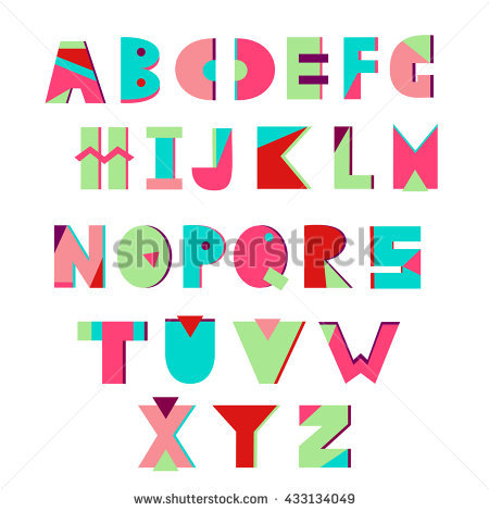 Colorful creative alphabet. Geometric letters. Summer alphabet. Vector.  Memphis style. - Alphabet Inc Vector PNG