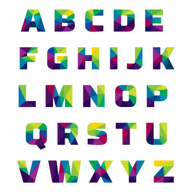 Coloured alphabet made of polygonal shapes - Alphabets PNG