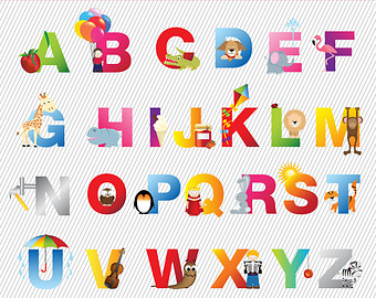 Kids Alphabets Clipart. Digital Alphabets. Digital Kids Alphabet. Coloful  Alphabet Clipart. 184 - Alphabets PNG