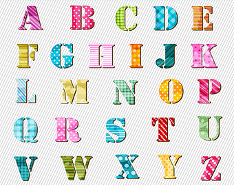 Patterned Alphabets Clipart. Digital Alphabets. Colorful Pattern Letters  Clipart. High res PNG files - Alphabets PNG