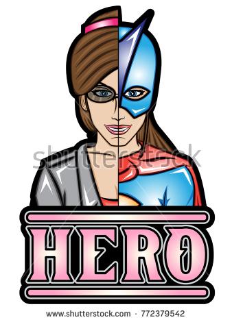 Illustration of alter ego superheroine - Alter Ego Vector PNG
