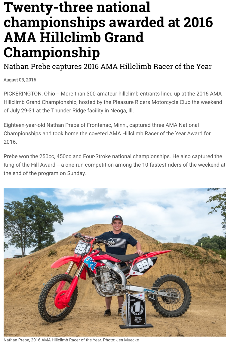 AMA Press Release Example - Ama Hillclimb PNG